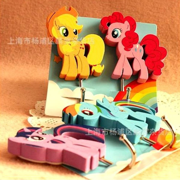 Beau New Arrival 4PCS (2 Packs) My Little Pony Wooden Decoration Wall Hooks  Clothes Towel