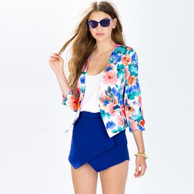 39ef8bb1ec6cb Estilo de moda de Las Mujeres vestido de Estampado floral Completo Chaqueta  Casual Blazer 3
