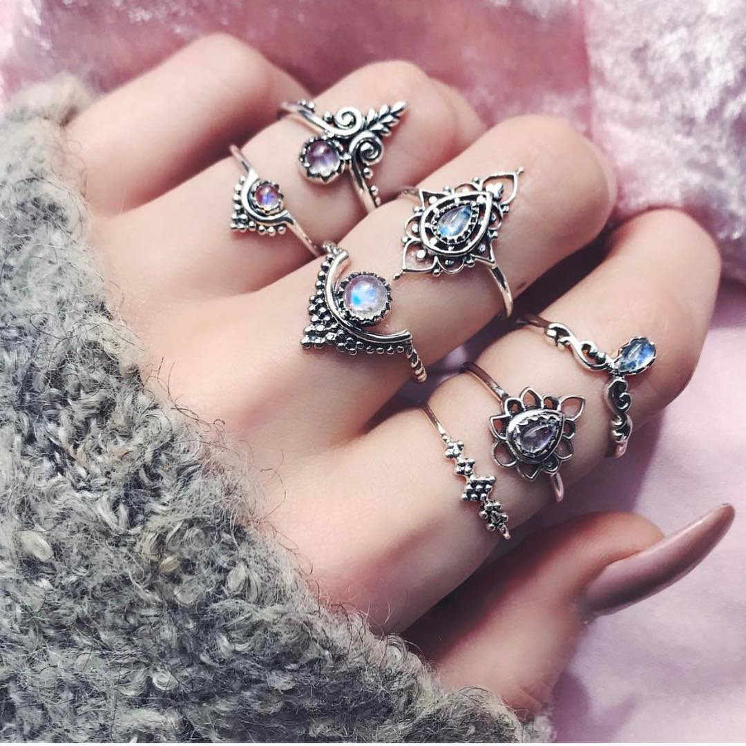 Top quality 7pcs/Set Women Bohemian Vintage Silver Stack Rings Above Knuckle Blue Rings Set Man or Woman Gift engagement ring#25