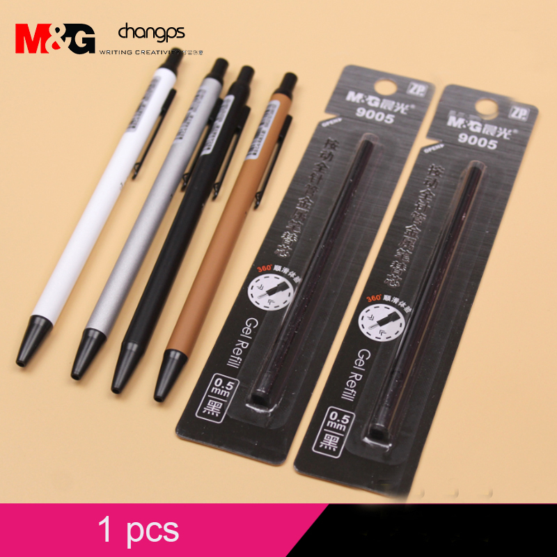 1pcs office & school grade business office use black gel ink pens good quality plasceramic bead series press metal signature pen