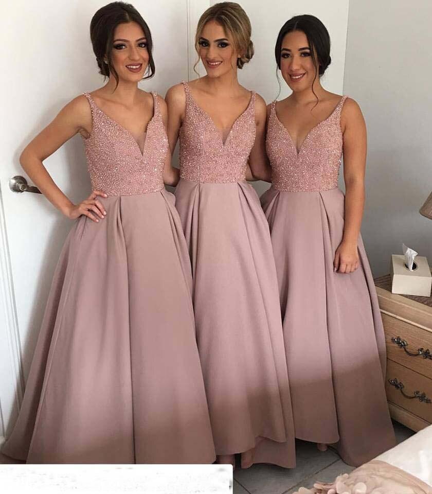Dusty Pink Una Línea de la Blusa Moldeada Baile Vestidos Largos 2017 ...