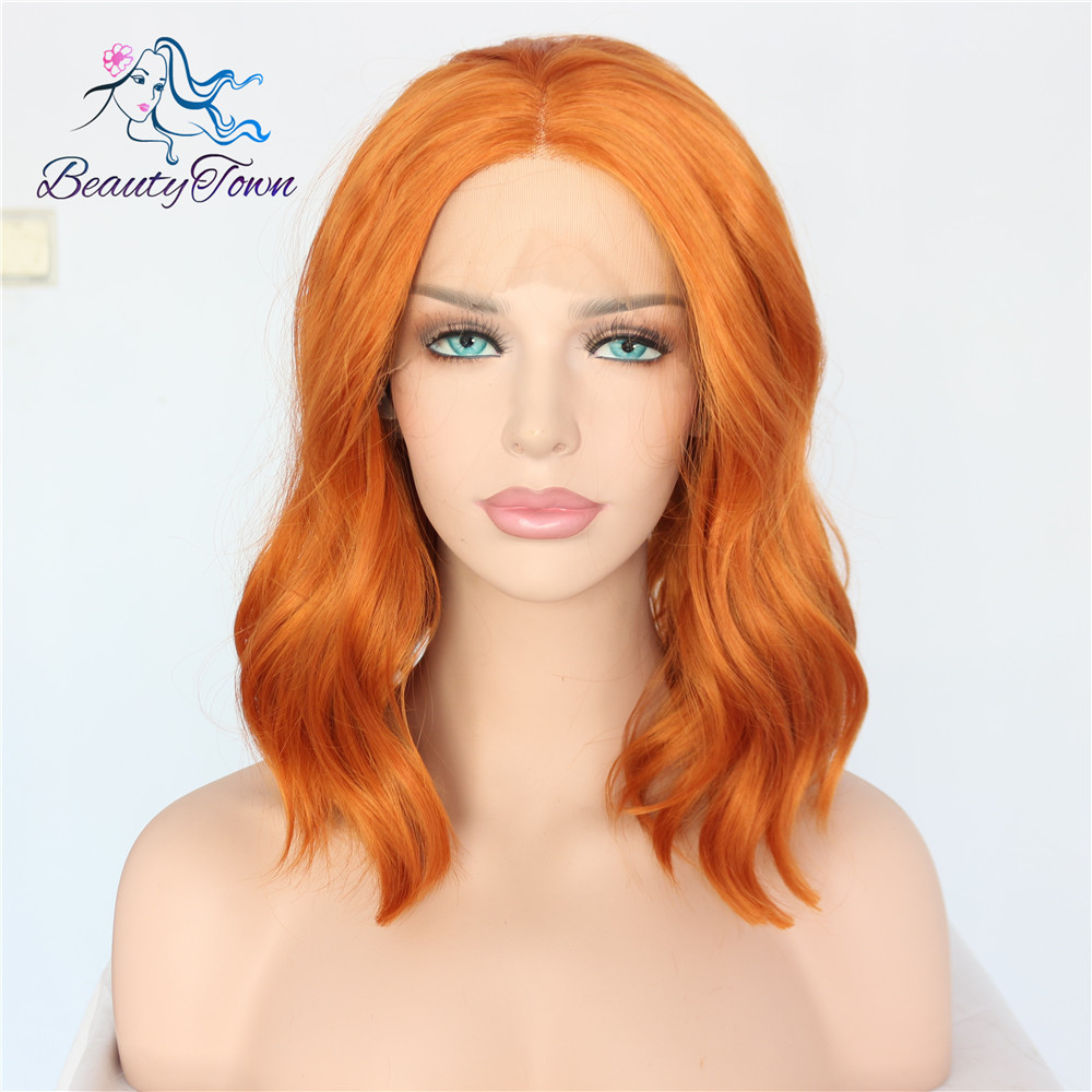 BeautyTown Short Natural Wave Orange Color Heat Resistant 150 density Blogger Daily Makeup Wedding Synthetic Lace