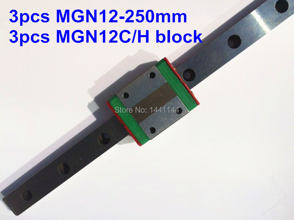 MGN12 Miniature linear rail: 3pcs MGN12-250mm + 3pcs MGN12C/MGN12H block for X Y Z axies 3d printer parts цена