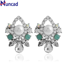 New Colorful Flower Big Brand Design Luxury Starburst Crystal Stud Gem Statement Earrings Jewelry for Women
