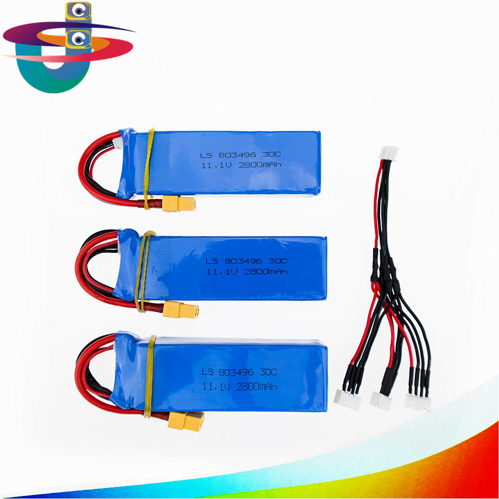 3pcs 11.1V 2800mah 3S Battery With 3in1 Cable For WLtoys V303 XK X350 Cheerson CX-20 CX20 RC Quadcopter Free Shipping 6 pcs 3 7v 520mah batteries and 1 pcs battery charger wsx x6a for wltoys v977 v930 cheerson 6050