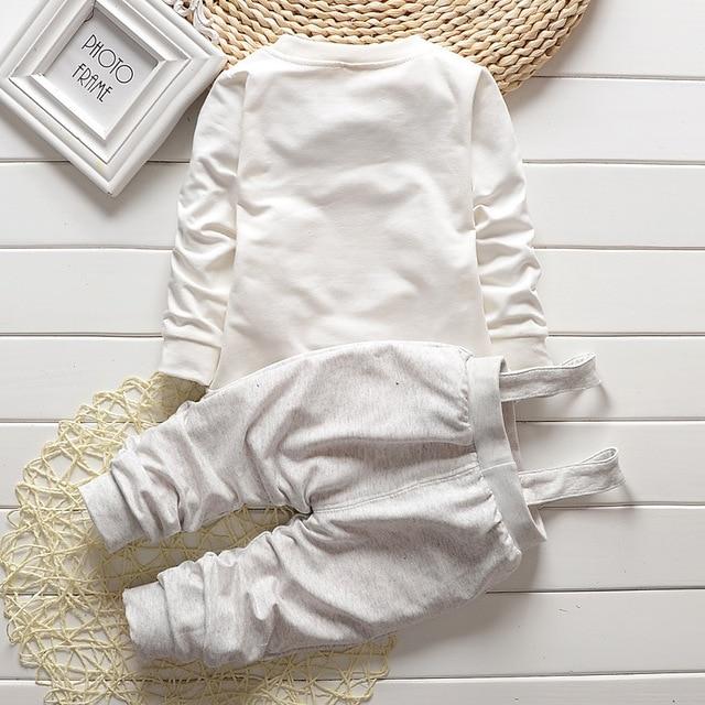 Baby Boy Clothes 2017 Spring Autumn OWL Print Long T-Shirt T-shirt Tops + Overalls Pants 2PCS Outfits Kids Bebes Jogging Suit 2
