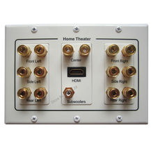 Free Shipping Multmedia Home Theater Speaker Plate HDMI 1.4 Subwoofer Input With 7x Audio Connectors Banana Jack Wall Panel