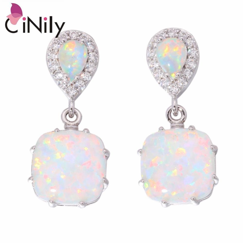 CiNily White Fire Opal Stone Stud Earrings Silver Plated large Long Square Tear Water Drop Filed Earring Party Jewelry Women