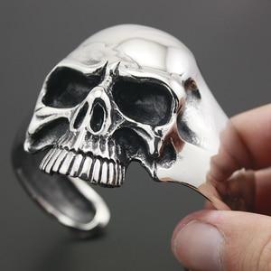 Image 3 - 316L acier inoxydable énorme crâne lourd hommes Biker Rocker Punk Bracelet Bracelet manchette 5J022