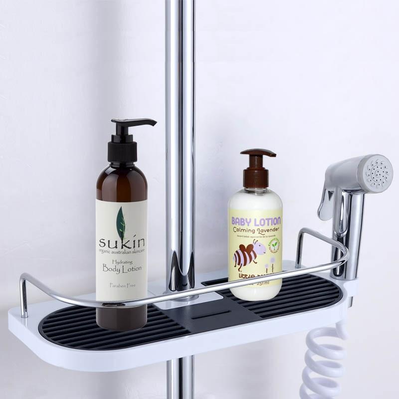 Bathroom Shelf Shower Storage Rack Holder Shampoo Bath Towel Tray ...