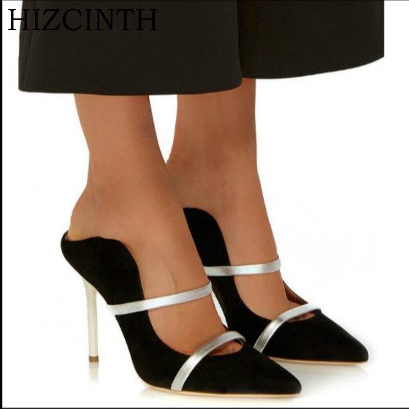 Hizcinth 2018 летние женские шлепанцы острый носок шелка женские шлепанцы на высоком каблуке Цвет соответствующие Сандалии для девочек Для женщи...