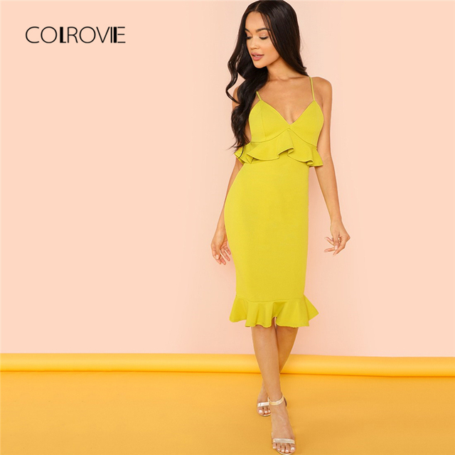 COLROVIE Mustard Ruffle Strapped Deep V Neck Sexy Dress 2018 Autumn Backless Party Dress Elegant Bodycon Summer Dresses
