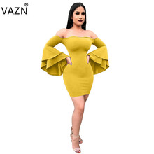VAZN New Arrive Best Quality 2018 Bandage Dress Full Sleeve Mini Bodycon Dress Sexy Strapless Club Dress LS6052