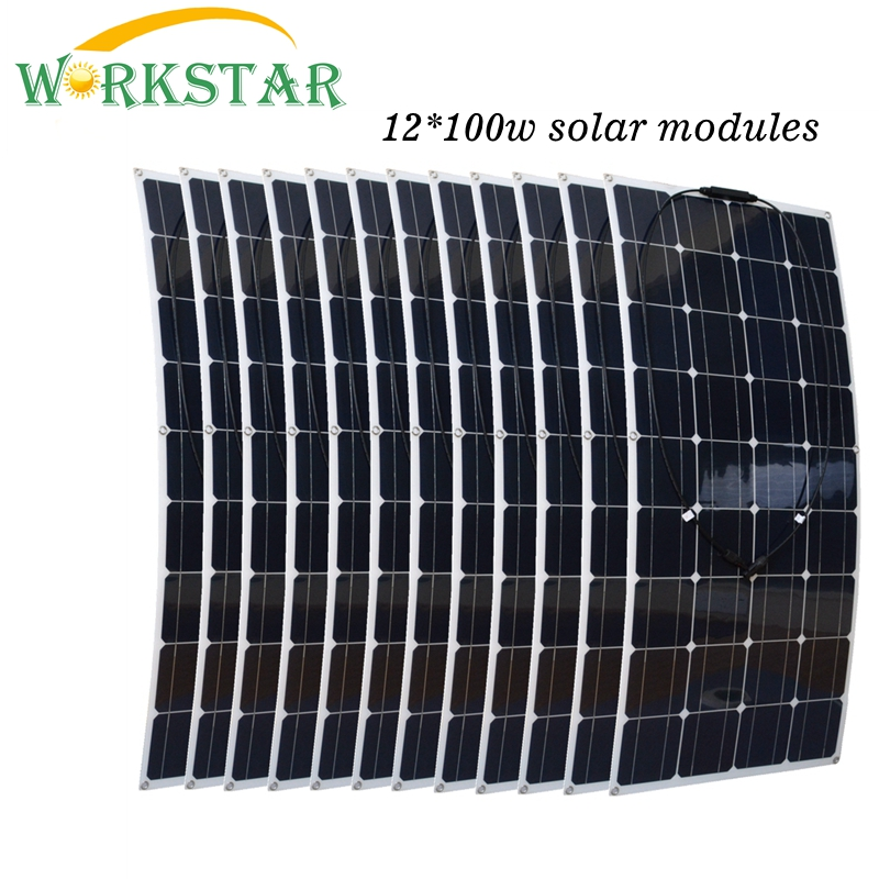12pcs Mono 100W Flexible Solar Panels Module Houseuse 1200W Solar Power System Kit Factory Price Solar Charger for RV Boat