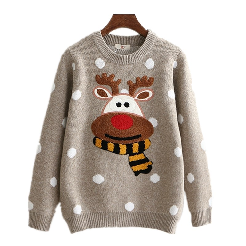 Fashion Ugly Christmas Deer Sweater Women Winter 2017Cotton O Neck Gray Jumper Knitted Pullover Sweater Female Long Sleeve