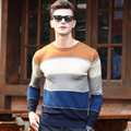 2016 New arrival autumn men's crew neck basic design colorful striped pullover sweater