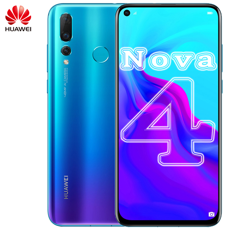 Original Huawei Nova 4 Smartphone 6.4 Inch Kirin 970 Octa Core Android 9.0 FingerPrint ID AI Camera 3750mAh Battery