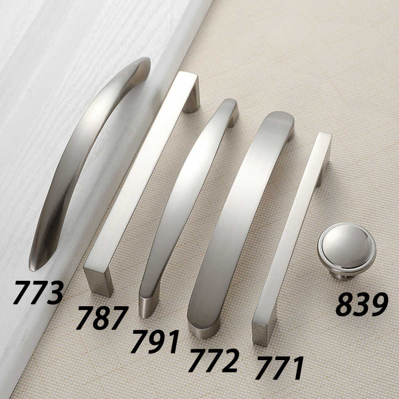 AOBT Küche Schrank Griffe Knöpfe Gebürstet Nickel 96mm 128mm 160mm Möbel Griff für Schrank Schublade Zieht Aluminium legierung 773
