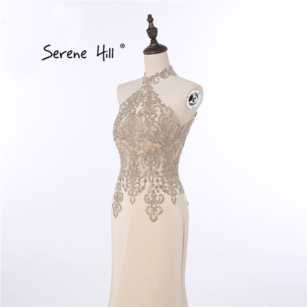 Aliexpress.com   Buy Elegant High Neck Champagne Evening Dresses Crystal  Lace Mermaid Formal Dress Dubai Arabic Vestido De Festa Longo BLA6118 from  Reliable ... a7146888e0ba