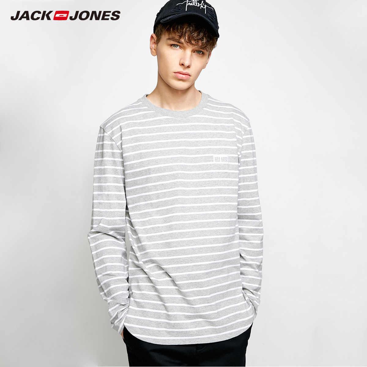 MLMR Мужская хлопковая футболка в полоску футболки с длинными рукавами с вышивкой 2019 JackJones новая брендовая мужская футболка jackjones | 218302505