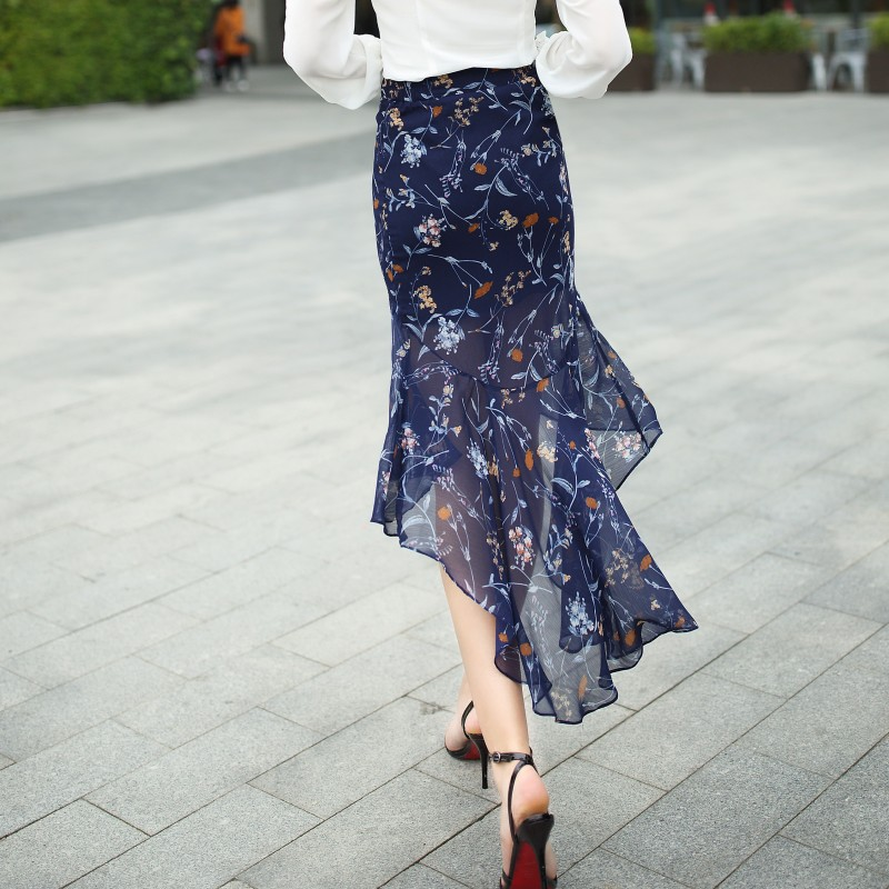 Skirt Women Chiffon Sexy Ethereal Mermaid Fishtail Print Trumpet Summer Skirt Casual Elegant Style 2017 Fashion