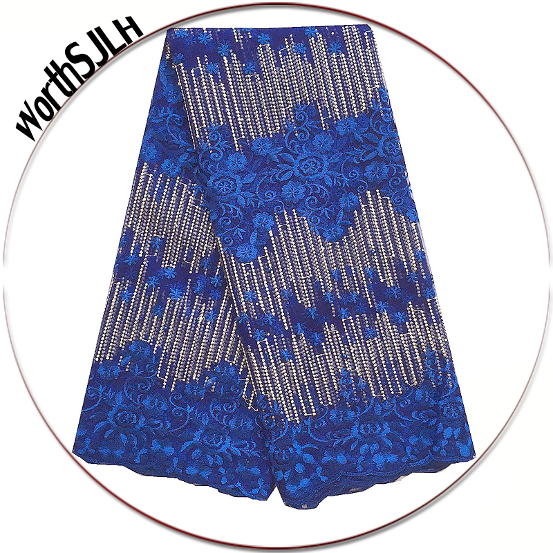 Aso Bei Latest Nigerian Lace Fabric 2018 High Quality Swiss Gold Royal Blue African French Dubai For Party
