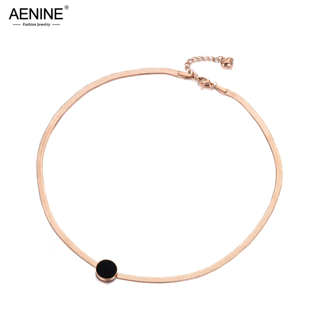 AENINE Trendy OL Style Black Acrylic Disc Titanium Stainless Steel Snake Chain Thin Necklaces For Women Rose Gold Color AN18066