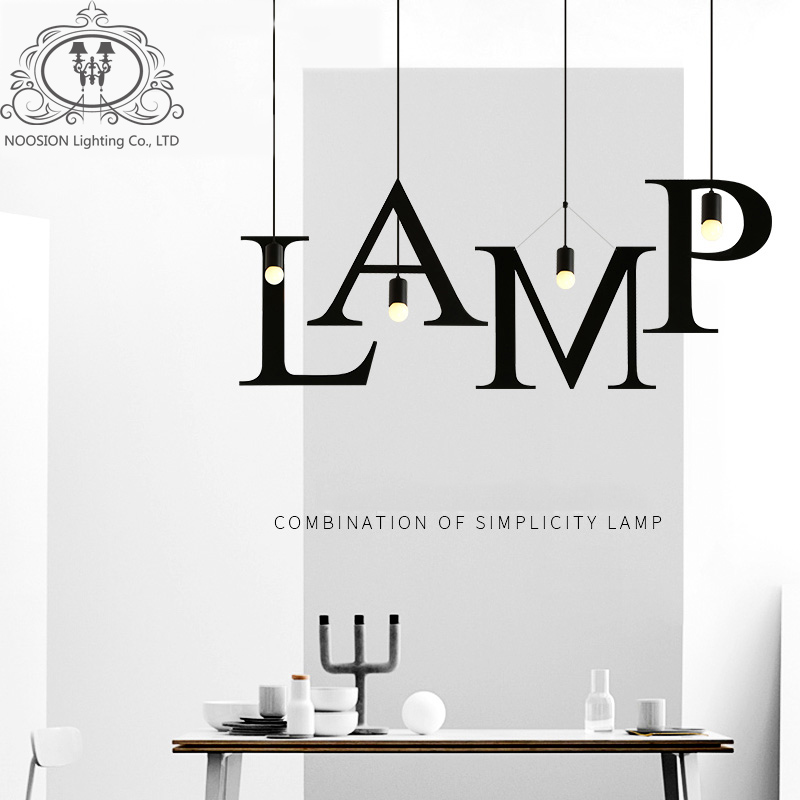 NOOSION 2017 New Letters Wrought Iron Vintage <font><b>Pendant</b></font> Lights For Home Lighting rope lampen retro hanglamp for loft coffee