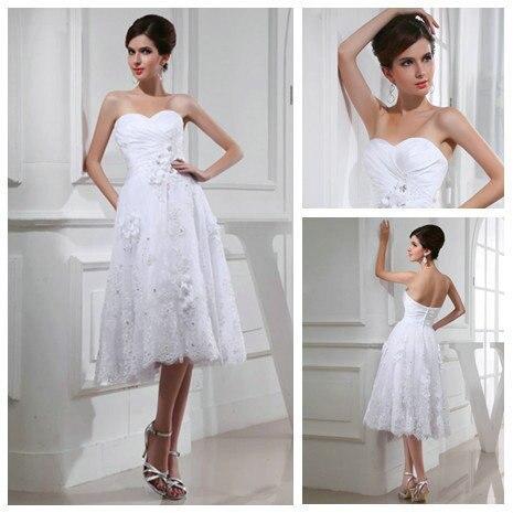 Organza blanco longitud de la rodilla modestos vestidos de novia ...