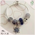 Noble Dark Blue Series 925 Sterling Silver Bracelet With  Silver Snowflake  And Heart Charms