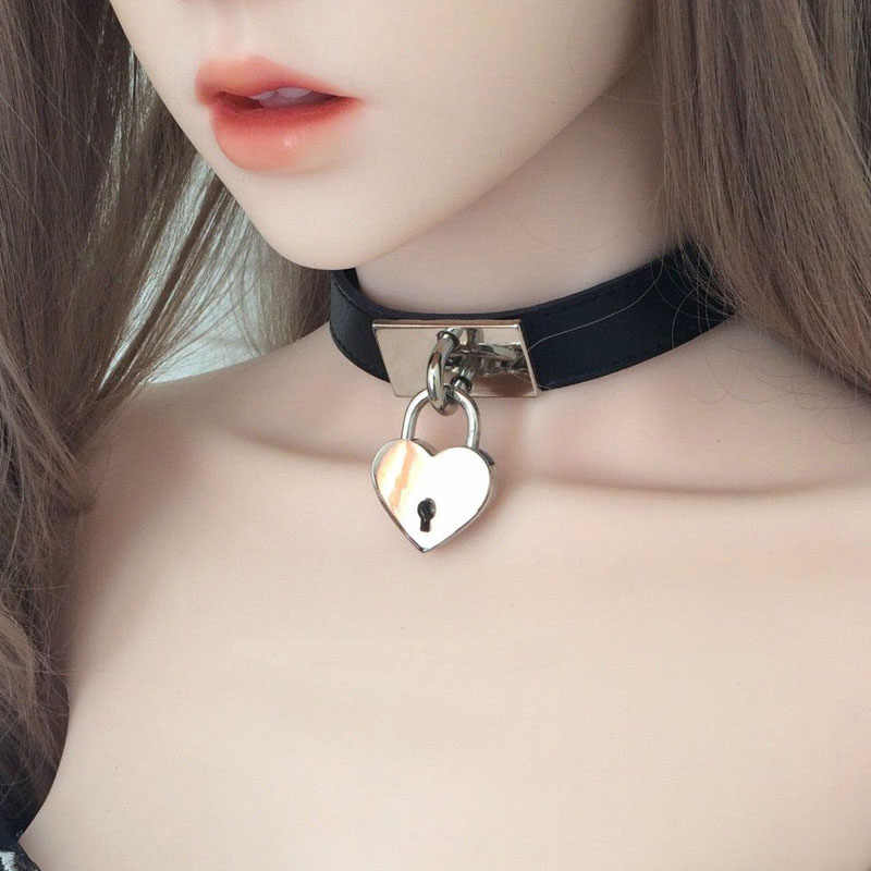 Gothic Leather Choker Silver Key Heart Charm Pendant Black Leather HOPE Charm Inspirational Necklace Love Gift Handmade Luck Necklace Pouch