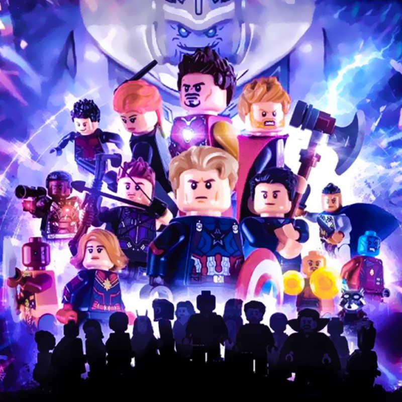 Marvel Мстители 4 эндигра Капитан Америка Железный человек танос Халк строительные блочные фигурки Черная пантера игрушки для детей