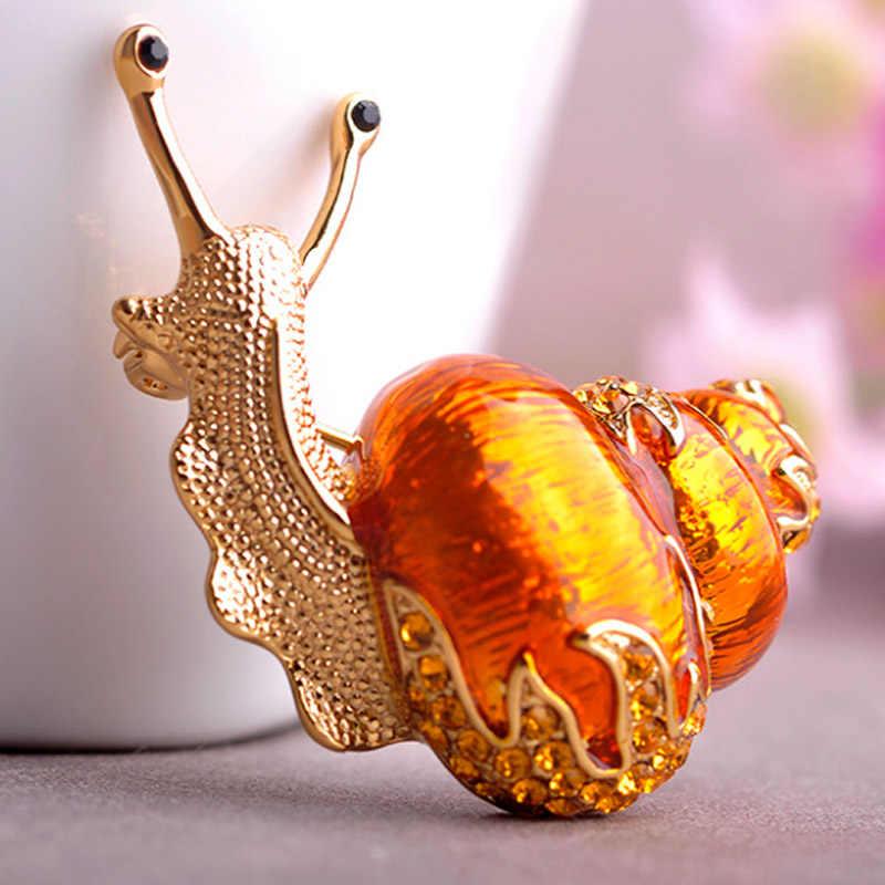 Besar orange siput bros sempurna antique emas disepuh vintage hewan bros perhiasan wanita aksesoris pernyataan broch jilbab