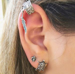 Набор сережек в виде морских черепах, 3 шт., этнические богемные Сережки для ушей Клипсы Серьги-гвоздики для женщин, серебряные серьги