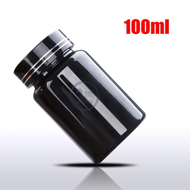 20 шт 100 мл ПЭТ толстые черные бутылки для таблеток Металлическая черная крышка, крышки sules бутылки, фармацевтическая пластиковая бутылка - Цвет: Black Cap Two Lines
