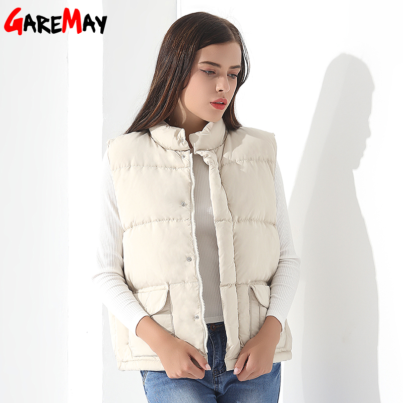 4093a471141f Aliexpress.com : Buy Down Vest Women Jacket Winter Female White Outwear Down  Coats Women Parkas Sleeveless Thicken Warm Casual Vest For Women GAREMAY  from ...