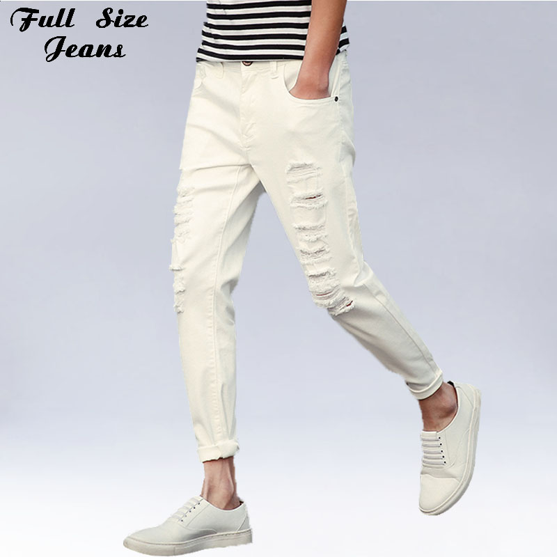 Spring New Plus Size Ripped Hole Cowboy Capris Jeans Oversized Ankle Length White Denim  Pants 4Xl 5Xl 3Xl plus size side stripe wide leg blue capris jeans 4xl 7xl oversized tassel irregular fringe ankle length denim pants