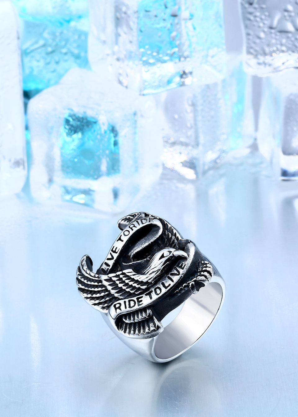 Stainless Steel Eagle Ring In Black And Silver 4