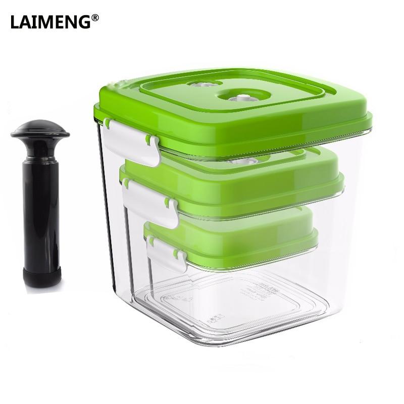 Laimeng recipiente de vácuo grande capacidade de armazenamento de alimentos saver recipientes plásticos quadrados com bomba 500 ml + 1400 ml + 3000 ml s166