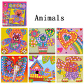 6 patterns/set EVA mosaic stickers Art puzzles Animals/Vehicles/Cars DIY educational toys