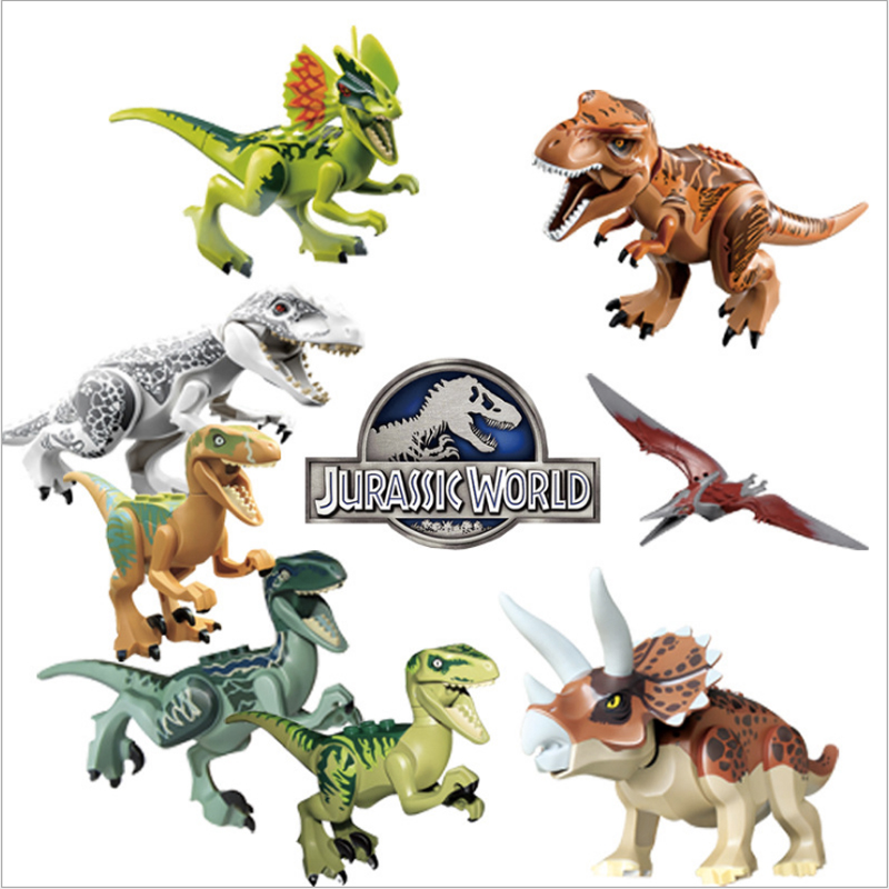 Jurassic Single Sale Dinosaurs park Pterosauria Triceratops Indomirus T Rex World Figures legoing Bricks font b