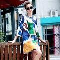 Новая Мода Жаккардовые Хлопка Женщин Осень Длинную Траншею Новинка Бисероплетение Печати Многоцветный Сращены Женские Пальто Мода Пальто