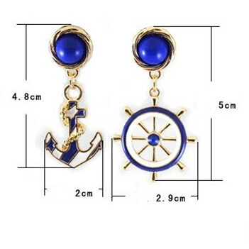 Gold Plating Navy Blue Anchor&Rudder Shaped Earrings For Women Brincos Navy Boat Anchor  ...