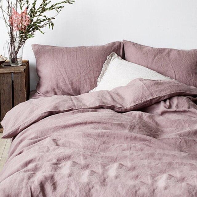 Summer Spring Purple Beige Khaki White 100 Linen Bedding Set Duvet Cover Flat Sheet