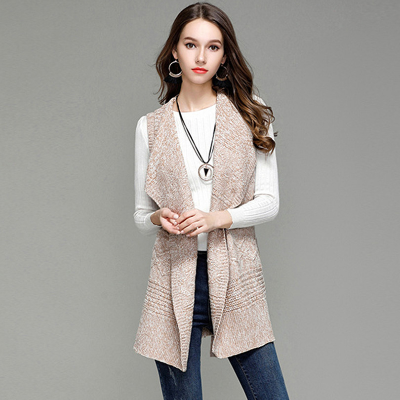d957bba8db US $22.6 |CUHAKCI Women Turn down Collar Long Cardigan Sashes Autumn Winter  Thick Sweater Knitted Sleeveless Female Casual Warm Cardigan-in Cardigans  ...