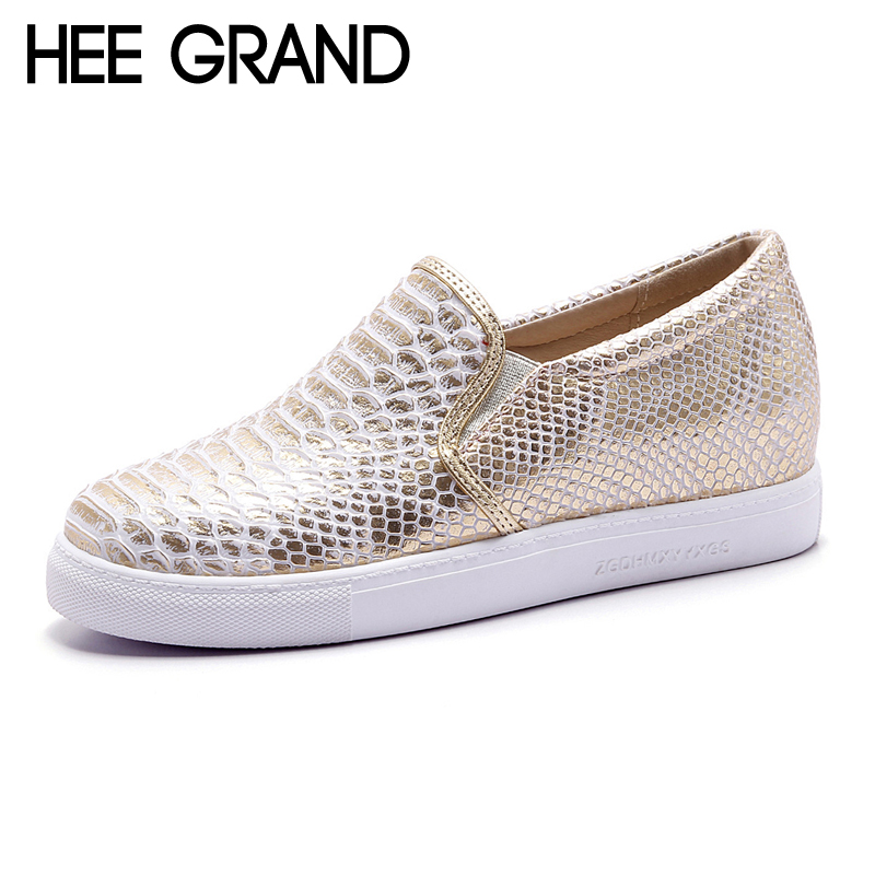 HEE GRAND 2018 Platform Loafers Casual Flats Shoes Woman Spring Autumn Creepers Gold Silver Women Flat Shoes 2 Colors XWD6250 hee grand 2017 creepers summer platform gladiator sandals casual shoes woman slip on flats fashion silver women shoes xwz4074