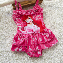Juniors children's swimwear girls swimsuit skirt braces spandex mini Cinderella snow white fancy UV bathing suit swimwear