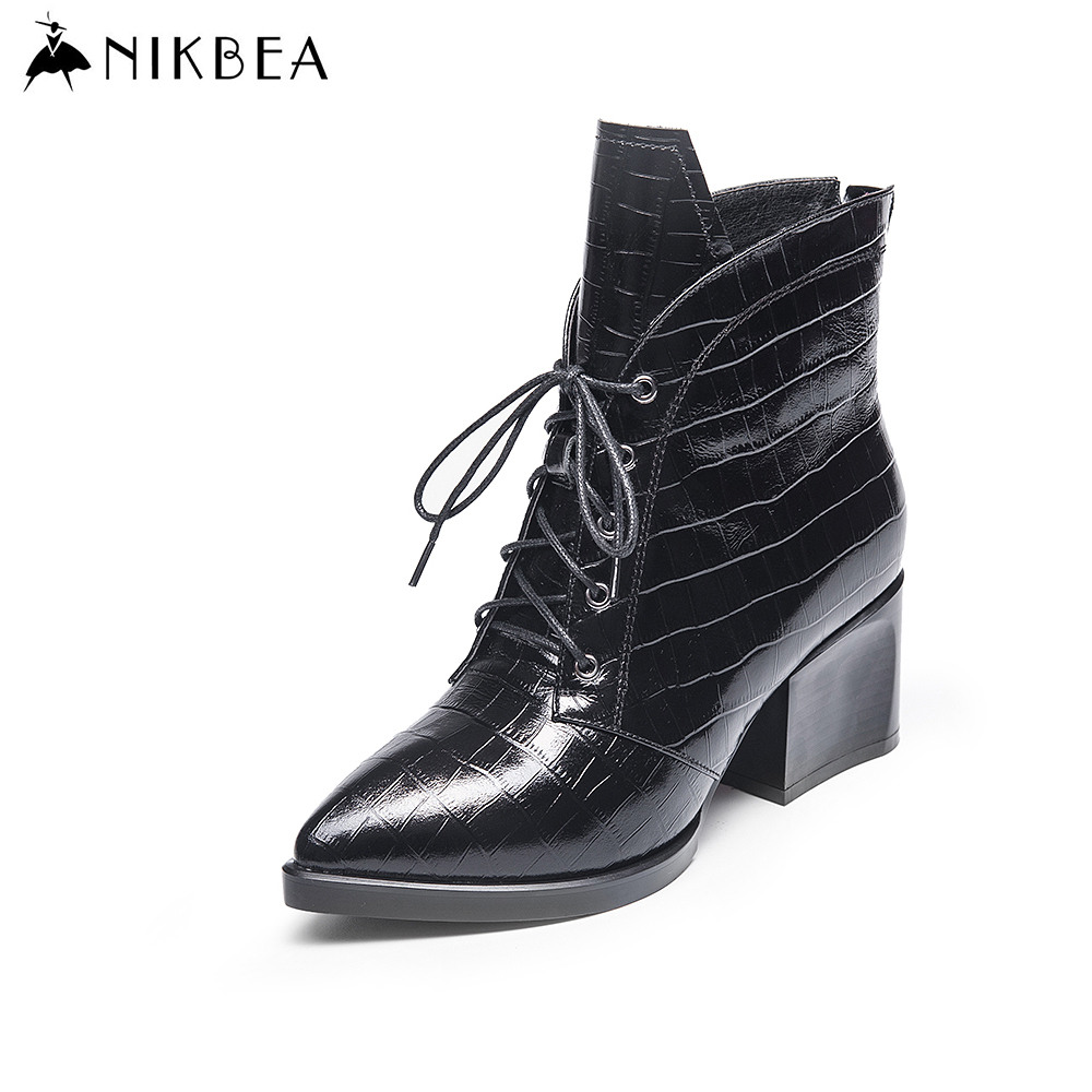 Nikbea Fashion British Style Genuine Leather Boots Point Toe Ankle Boots for Women  Lace Up Chunky Low Heel Womens Winter 2016 martins real leather plus velvet british style high heel womens fashion boots winter 2015 lace up pointed toe ankle side zip