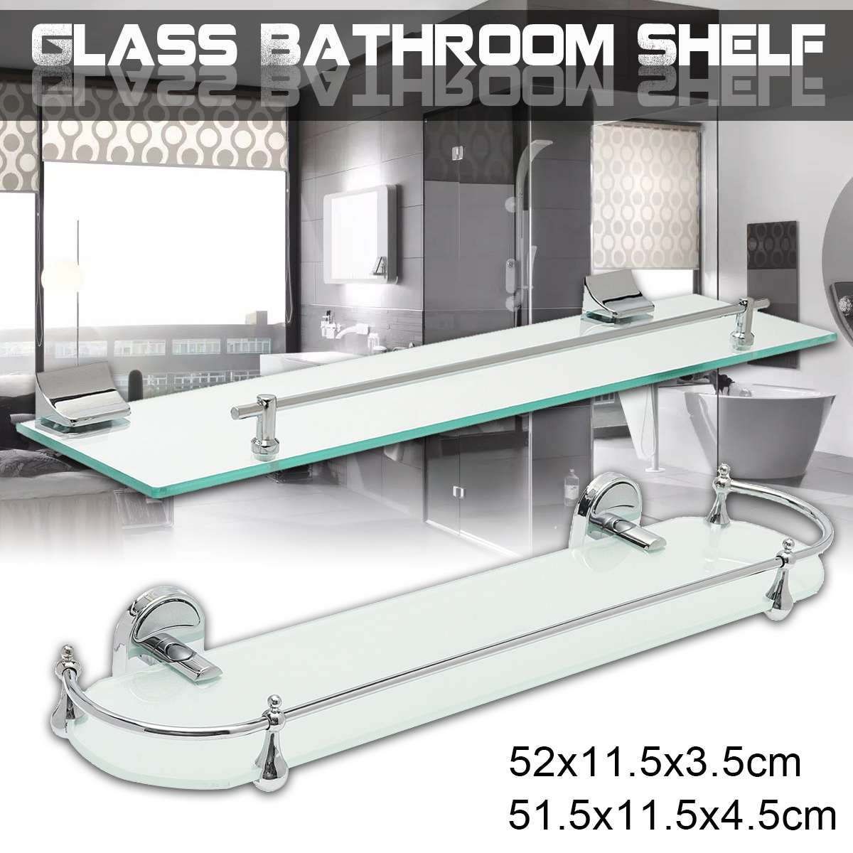 52cm Bathroom Glass Bath Shower Shelf Holder Organizer Single Layer Modern Style Glass Bathroom Shelves