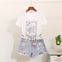 Summer Tee Short Denim Pants Suit Beading Embroidery Flower Pink T shirt Tops Jeans Shorts Pants Femme Set Casual Two Piece Set